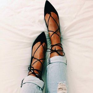 TOPSHOP Black Pointed Toe Leather Lace Up Flats